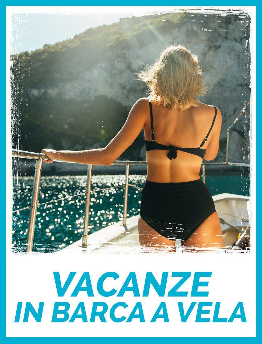 Ragazza di spalle nelle Vacanze in Barca a Vela